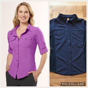 Lucy Fly Away Button Front Top In Gray